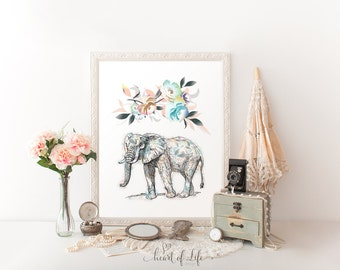 Elephant printable art Colorful wall art Elephant decor Elephant nursery wall art print Watercolor elephant print Elephant print Nursery art