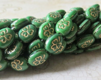 Rosary Making Supplies, Czech Celtic Clover Beads, Opaque Green 8x10mm Oval w/ Gold Shamrock, 60 Pieces
