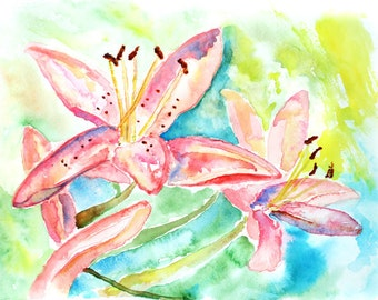 Colorful flower watercolor, Girl's bedroom art, pink, Teal Bedroom Wall Art, Lily painting print, Office Decor, Art for Girls Room