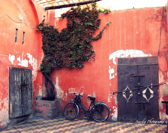 Morocco Rustic Doors and Bicycle Photo. Moroccan Decor. Marrakech, Print Photograph. Travel Photography. Marrakesh. African Wall Art Decor