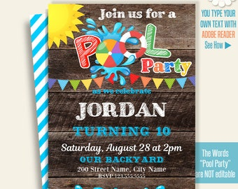Printable Pool party invitation, Pool party invite, pool party templates, Instant Download Self Editable PDF A273