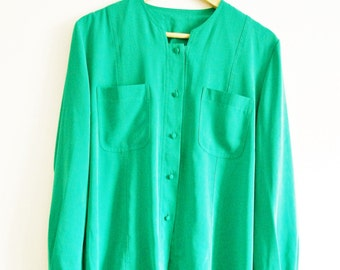 Vintage ladies shirt blouse Green 1980s Size 12