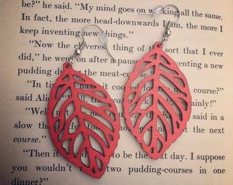 Red Leaf Wooden Earrings