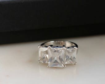 Crystal Silver Ring - Large Crystal Silver Ring - Size 7.25 Ring