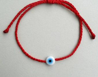 White evil eye, Red string braided bracelet, Kabbalah, Unisex, Adjustable,Good luck,All seeing,Devil's protection,Handmade spiritual jewelry
