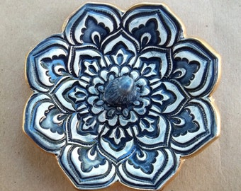 Navy Blue Lotus Ring Holder Bowl Ring Dish ceramic gold edged