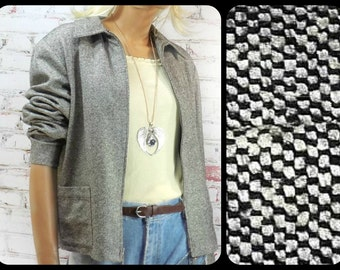 cropped jacket , fashion jacket , casual jacket . black and white jacket, silk wool jacket -Liz Claiborne , size XL # 116