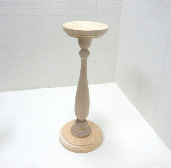 Wooden Pillar Candle Holder / Candlestick  12-1/2 Inches Tall