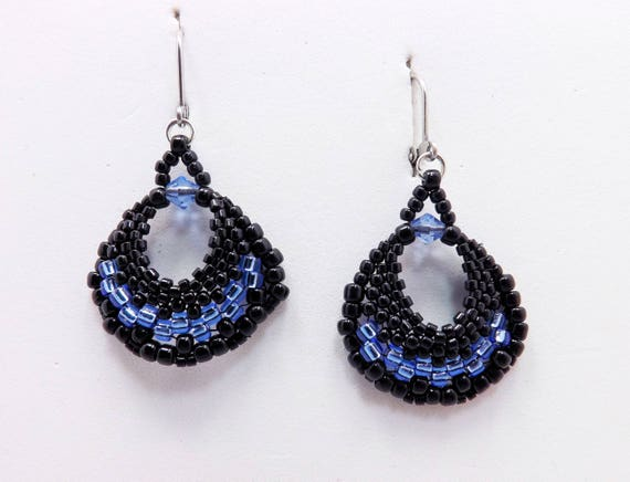 Bright Blue & Black Fan shaped Earrings Sku: ER1028