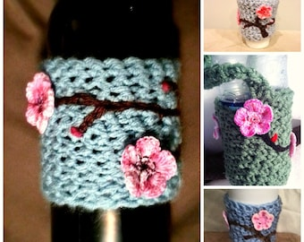 PATTERN CROCHET Charming Cherry Blossom Drink Sleeve