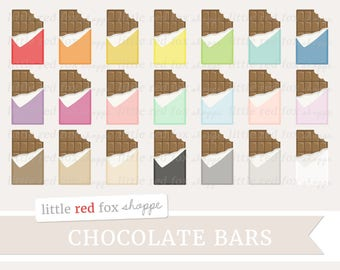 Bitten Chocolate Bar Clipart, Valentine's Day Clip Art, Chocolate Clipart, Candy Clipart, Cute Digital Graphic Design Small Commercial Use