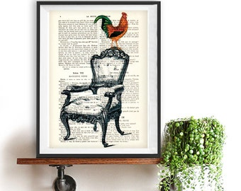Rooster Print, Bird Artwork, Bird print, colorfull Rooster Print, Home Decor, vintage drawing chair, Vintage Rooster Print, Rooster on Sofa