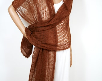 Mohair stole in Emperador-brown, chocolate brown, handmade, summer stole, transparent, summer accessory, XL
