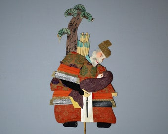 1800's Antique Oshie Japanese Silk Kimono Doll Grandfather Samurai Grandson Oshi-e Okiage Ningyo 11