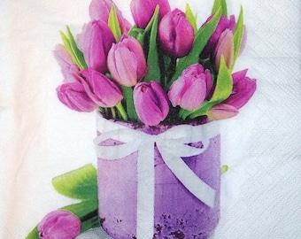 BOUQUET of tulips pattern 4 X 1 paper lunch size napkin 099