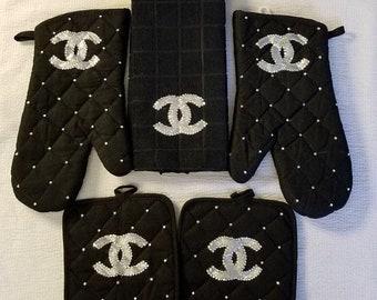 Inspired kitchen set, Home Decor Chanel, oven mitt, kitchen towel, pot holder,