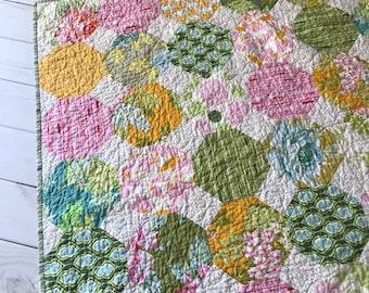 Nicey Jane Snowball LapQuilt -- pink, blue, yellow, green, gold, white