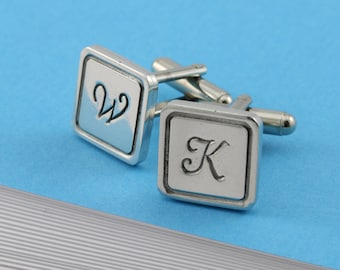 Personalised Cufflinks Monogrammed Cufflinks Square Pewter Cufflinks for Men for Birthdays Weddings and other Special Occasions