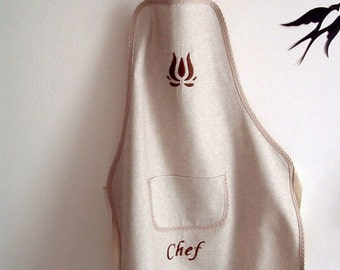 Linen Apron Organic Full Apron Natural Monogrammed Apron Personalized Apron With Pocket Kitchen Apron