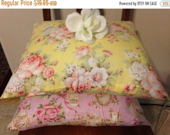 ON SALE, SPRING Sale Pillow Covers/ Shabby Chic Pillow Cover/ Yellow, Pink Teacup Pillow Cover/ 2 Pillow Covers/ Handmade Pillow Cover