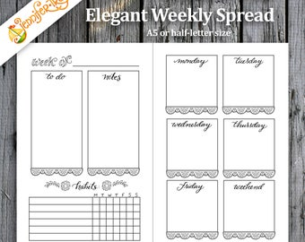 Elegant Weekly Bullet Journal Spread / Instant Download Printable PDF Planner Insert Hand Lettered Hand Drawn Template Coloring