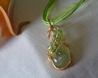 Beautiful Green Prehnite Pendent