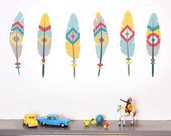 Mini Native Feathers fabric wall stickers