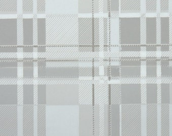 1950s Vintage Wallpaper by the Yard - Plaid Vintage Wallpaper of Gray and White