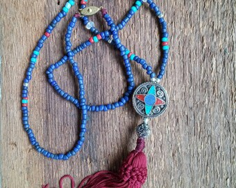 Tassel Necklace, Layering Necklace, Tibetan Bead Tassel Necklace, Blue Beaded Necklace, Long Necklace,  Bohemian Jewelry,Boho Jewelry