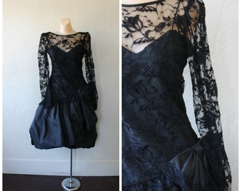 1980s Black Prom Dress / Bubble Hem Prom Dress / Peek A Boo Lace Prom Dress/ Vintage 80s Prom Dress / Little Black Lace Dress S