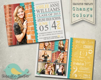 Graduation Announcement PHOTOSHOP TEMPLATE -  Senior Graduation 18