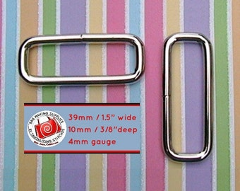 """30 pieces 1.5 Inch / 39mm Metal Wire-Formed Rectangle Rings - 10mm / 3/8"""" depth (available in nickel and antique brass)"""
