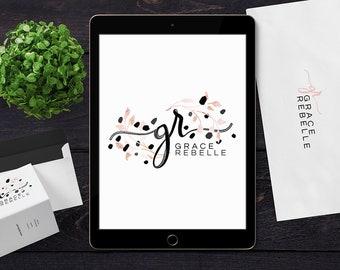 Premade Logo Design | Pastel Pink Black Logo | Fashion Logo Design | Beauty Logo Design | Wordpress Theme Logo |