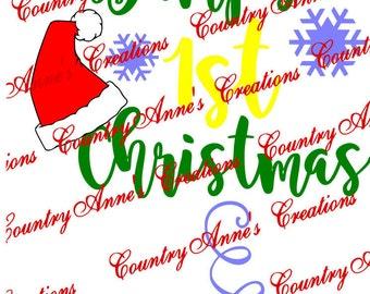 "SVG PNG DXF Eps Ai Wpc Cut file for Silhouette, Cricut, Pazzles, ScanNCut - ""Bumps 1st Christmas""  baby svg"