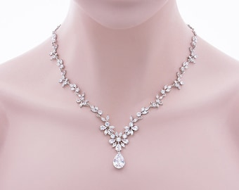 Talisha - Wedding Jewelry Set, Necklace And Earrings Set, CZ Wedding Y Necklace, Bridal Crystal Jewelry, Cubic Zirconia Crystal Necklace