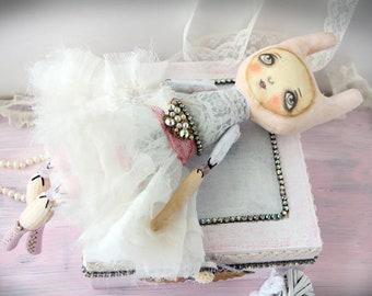 Art doll soft shabby chic Bunny