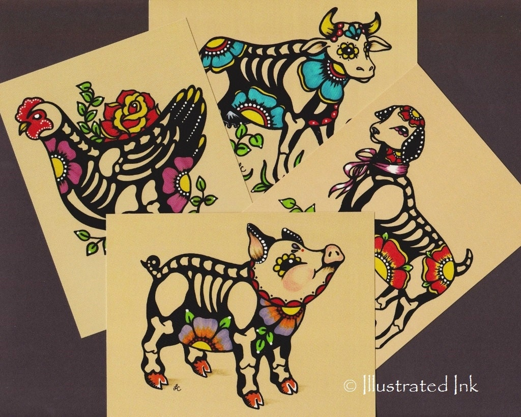 Day of the Dead POSTCARDS Skeleton Farm Animals Pig