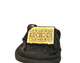 Vintage 1930s Black Suede Pouch Bag
