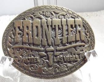 Vintage Frontier Hotel Las Vegas Collectible Belt Buckle, Hotel/Service Industry Advertising Buckle for Serious Collectors, VIVA Las Vegas!