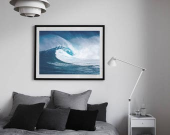 Wave Print, Wave Photography, Surf Art, Ocean Large Art, Blue Wall Art, Beach Decor, Surf Decor, Waves Wall Art, Beach Backdrop, Coastal Art