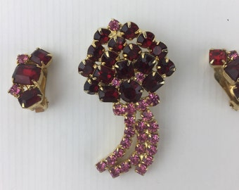 Vintage 1950's Cora Pin and Earring Set with Ruby Red and Pink Rhinestones