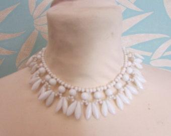Mid-century white milk glass choker necklace, elliptical & round bead detail