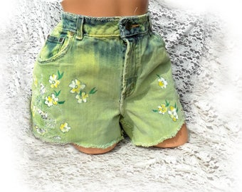 flower high waisted shorts - green dyed shorts - OOAK painted shorts -green upcycled shorts - green denim shorts - size 16, # 23