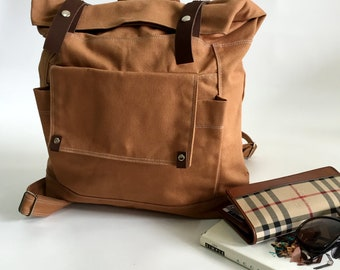 Brown cognac canvas backpack,leather strap travel backpack,Canvas Rucksack,Back to school laptop bag /Sale 25 % -no.105 ALLISON