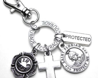 Firefighter Fireman Patron St. Florian Catholic Holy Medal Charm Backpack Clip Zipper Pull Lobster Clasp, Protection