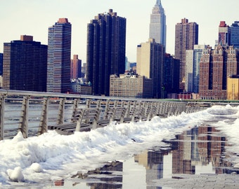 Empire State Building Reflections, New York City Photography Print, NYC Wall Art