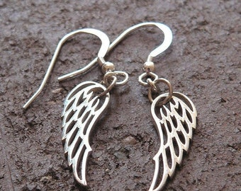 LIMITED TIME SALE Detailed Wing Earrings - Solid Sterling Silver - Perfect and Classy Gift - Choice of Earwire or Leverback - Remembrance -