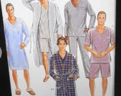 Simplicity D0588 - Easy Sew Guys' Sleepwear, Men's Loungewear - Robe, Pajamas, PJs, Sleep Shirt - Guys, Teens - Size XS - XL - UNCUT
