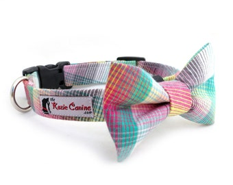 Rainbow Striped Dog Collar (Blue , Pink, Teal, White Striped Dog Collar - Matching Bow Tie Available Separately for Wedding)