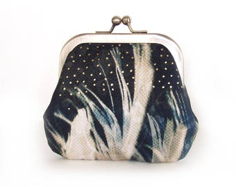 Coin & card purse, black white feather pouch, gold polkadot